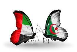 Arabic butterflies with flags of United Arab Emirates and Algeria