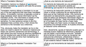 memoria de traducción con frases una al lado de otra